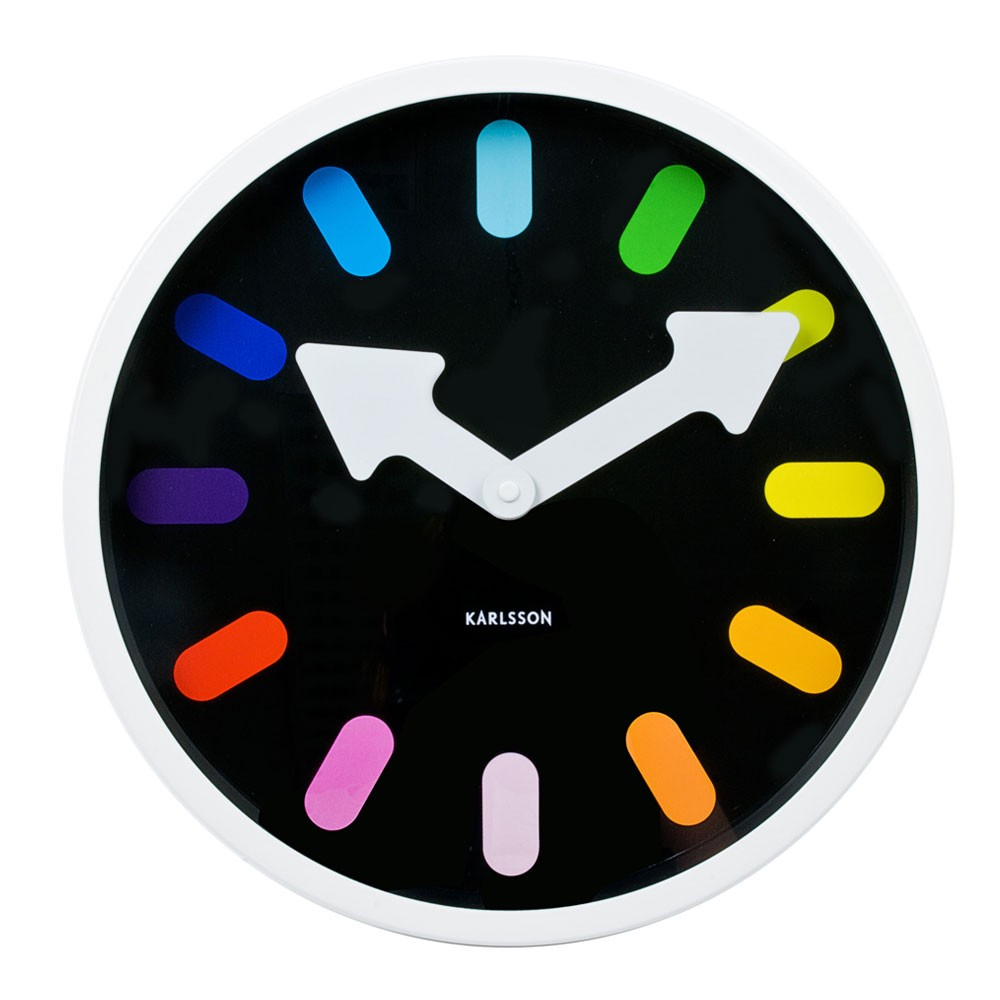 Karlsson Pictogram Rainbow Wall Clock - Black